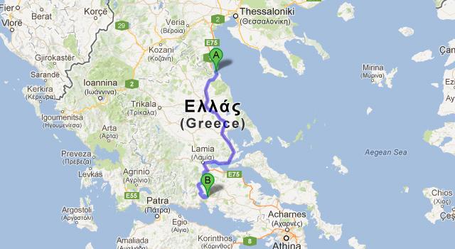 Harta Grecia traseu masina