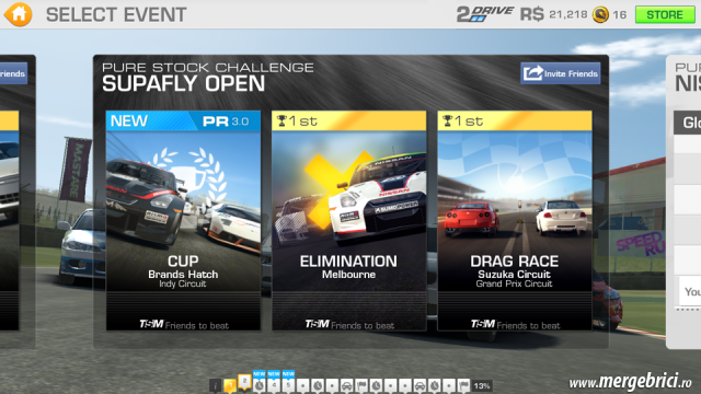 Joc masini: Real Racing 3 - meniu