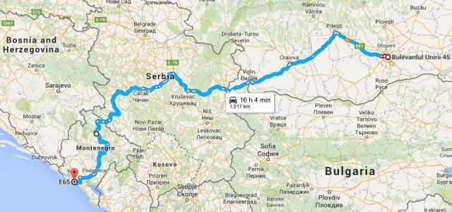Harta traseu Bucuresti - Budva