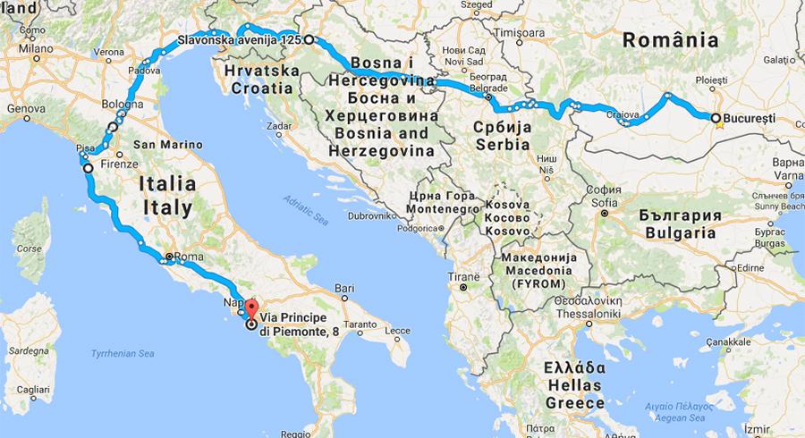 Traseu Romania Italia Amalfi